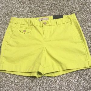 Banana Republic New Yellow Chino Shorts Size 0